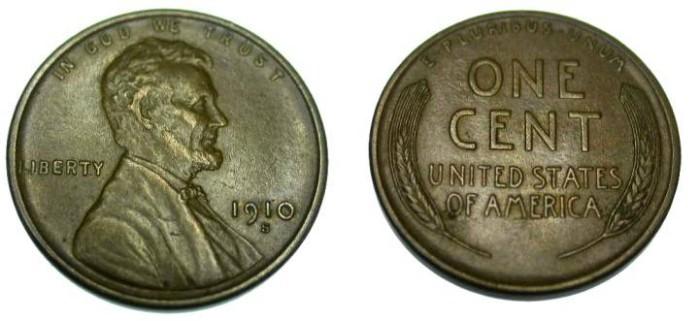 US Coins - 1910-S AU Lincoln