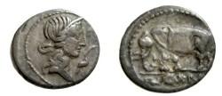 Ancient Coins - Caecilia O Pietas Rv elephant AR Denarius Syd 750