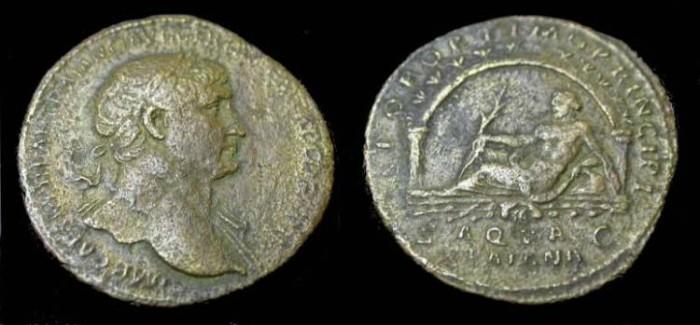 Ancient Coins - Trajan. 98-117 AD. Æ Sestertius Struck 110 AD