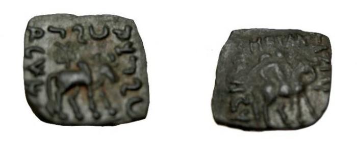 Ancient Coins - Indo-Skythian Azilises Ca 57-35 BC AE 1/2 Unit Senior 58.2b R!