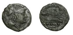 Ancient Coins - Roman Republican AE Triens Uncial 217-197 BC Hd Minerva Rv Prow Galley BMC 34/5 Syd 231B