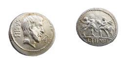 Ancient Coins - Roman Republic L Titurius Denarius 88 BC  Rape of Sabinied Heaad f Tatius