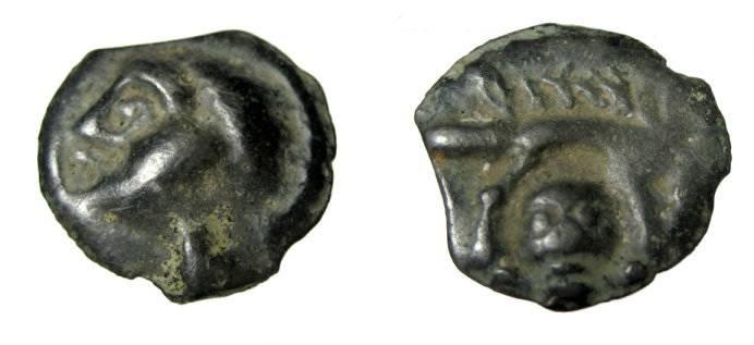 Ancient Coins - Gaul Leuci after 200 BC Potin 18mm 3.30 gn Head L, Boar R facing bead below LT 9180 CCCBM III 435