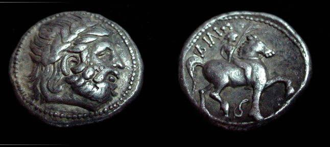 Ancient Coins - Phillip II 359-336BC Silver Tetradrachm