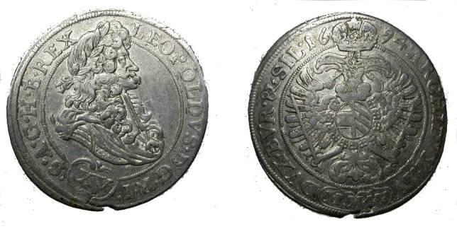 World Coins - Austria 1694 15 Kreuzer  Hall Mint KM 1289