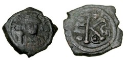 Ancient Coins - Maurice Tiberius 582-602AD AE 1/2 Follis Constantinople