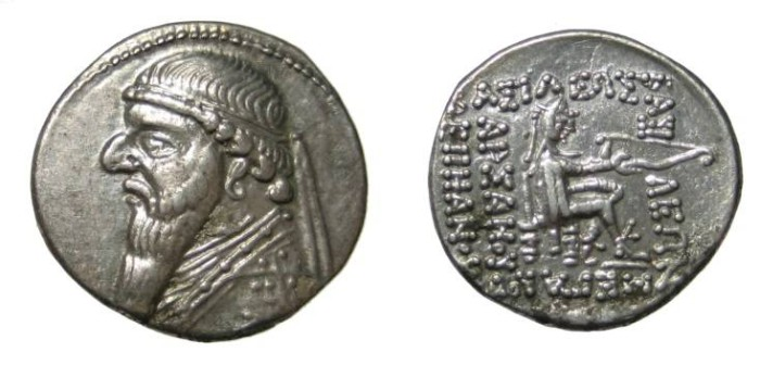 Ancient Coins - Parthia Mithradates II Ca 123-88 BC AR Drachm
