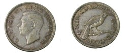 World Coins - 1937 New Zealand George VI 6 Pence Y-10