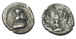 Ancient Coins - Persis Oxarthes son of Darius 1st century BC AR Obol Compare to S# 6211