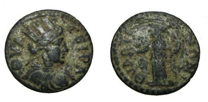 Ancient Coins - Lydia Thyateira AE18 mid 3rd century AD Obv Bust Sity Rv Homoneia BMC 56 S-1850a