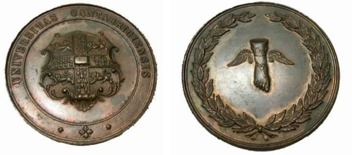 World Coins - Great Britain  19th Century Cambridge University Award Medal  Bronze 50mm