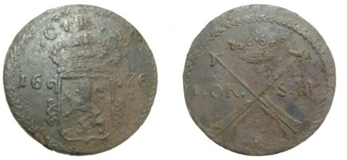 World Coins - Sweden Karl XI 1660-1697 1 Ore S.M. 1676 KM #264b