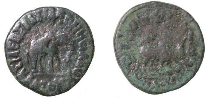 Ancient Coins - Indo Skythians Azes II Ca 35BC-5AD AE Pent-Chalkon