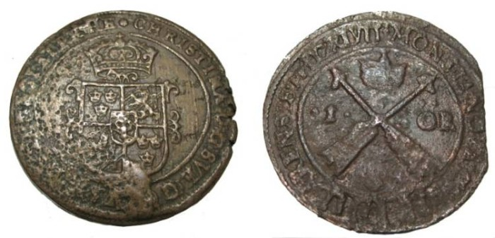 World Coins - Sweden Christina 1632-1654 Avesta 1 Ore 1640 MDCXL KM# 161
