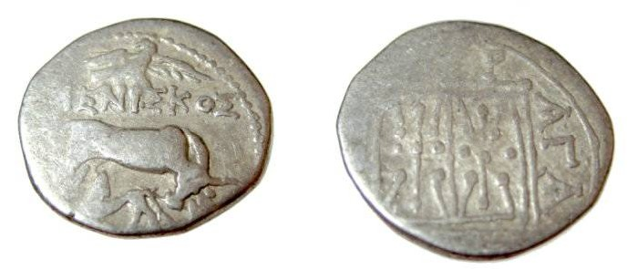 Ancient Coins - Appolonia, Illyria, minted ca 229-30 BC moneyer ΜΕΝΙΣκΟΣ magistrate ΑΓΑΘΙΠΝΟΣ