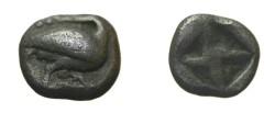 Ancient Coins - Macedonia Aeion Ca 480 BC AR trihemiobol