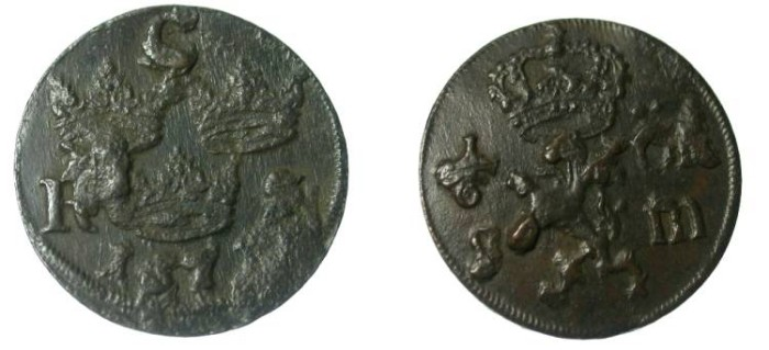 World Coins - Sweden   1/6 Ore 1671  Karl XI  KM 254