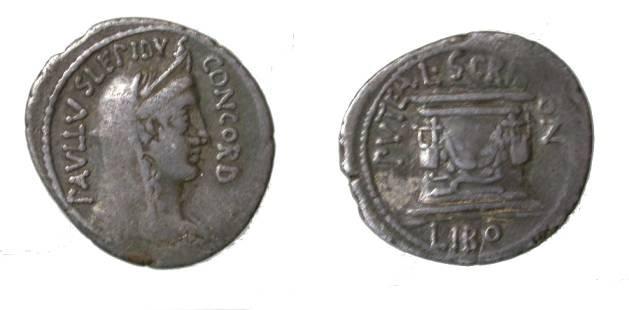 Ancient Coins - Roman Republic. Paullus Lepidus, Libo. Denarius. Concord/Scribonian Well.