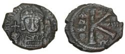Ancient Coins - Justinian I 527-565 AE 1/2 Follis Theoupolis