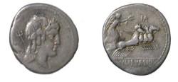 Ancient Coins - L Julius Bursio Denarius. 85 BC