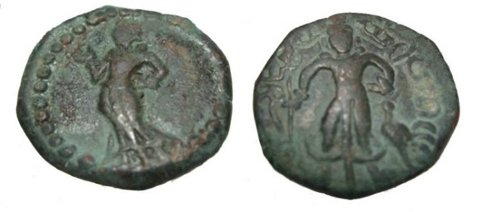 Ancient Coins - India Ganges Valley The Yaudheya 3rd century AD Post Kushan Period AE Unit M-4707/18