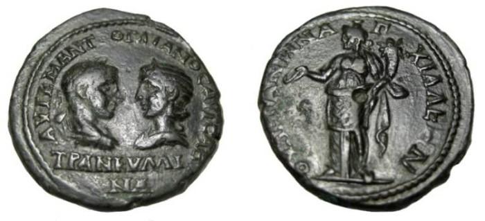 Ancient Coins - Gordian III & Tranquilla 238-244AD  Anchialos Thrace AE27
