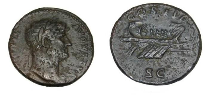 Ancient Coins - Hadrian 117-138 AD AE As