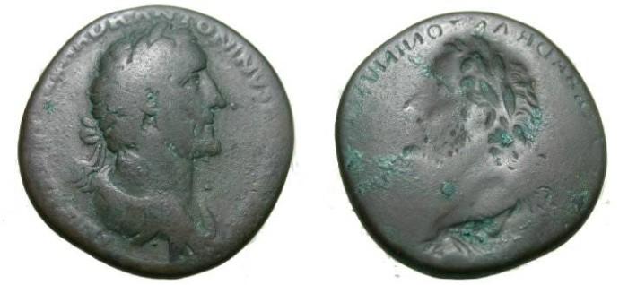 Ancient Coins - Antoninus Pius Ae Sestertius 138-161 AD EXTREMLY Rare Reverse Brockage