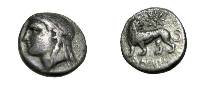 Ancient Coins - Asia Minor Ionia Miletos mid 4th Century BC AR Drachm S-4502