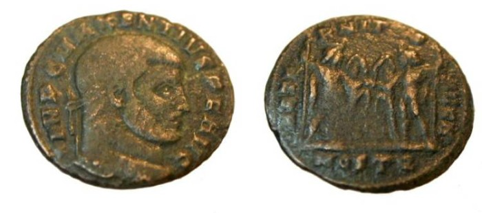 Ancient Coins - Maxentius 306-3012AD AE Follis Dioscur istanding facing holding horse