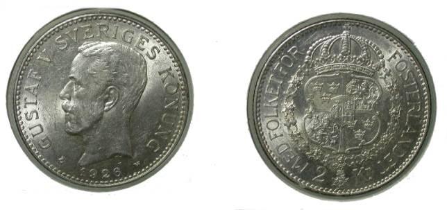 World Coins - Sweden 2 Kroner 1926 Ch XF KM # 787