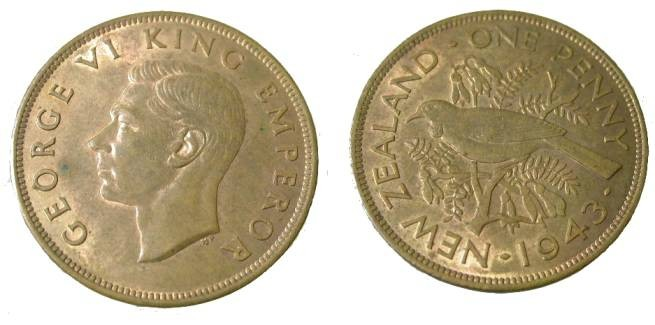 World Coins - 1943 New Zealand George VI Penny Y-8