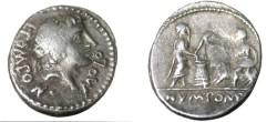 Ancient Coins - L. Pomponius Molo. Ca. 97 BC. AR denarius. Apollo / Numa sacrificing.
