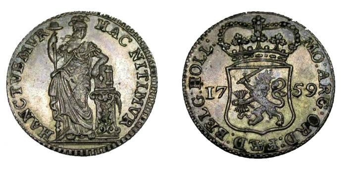 World Coins - Holland 1759 1/4 Gulden Mint Meesles Penny
