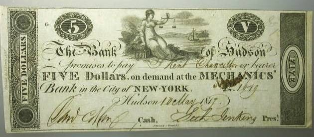 US Coins - New York State – The Bank of Hudson May 10. 1817  Five Dollars  NY1050 G104