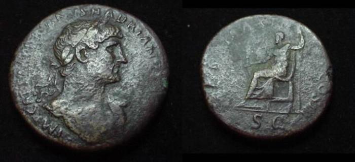 Ancient Coins - Hadrian AE Sestertius.