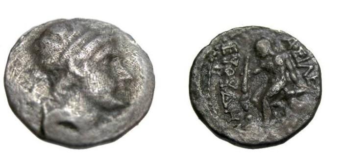 Ancient Coins - Bactria Euthydemos Ca 230-190 BC AR Diobol 1.65gm or Heavy Hemi-Drachm  VERY RARE