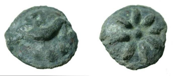 Ancient Coins - Apulia Luceria ca 220BC AE Aes Gravis Teruncius