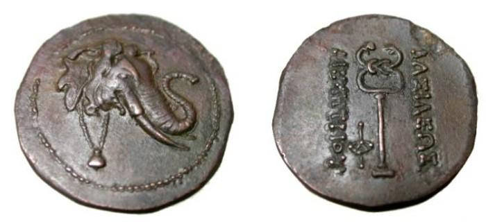 Ancient Coins - KINGS of BAKTRIA. Demetrios I. Circa 200-185 BC. Æ Triple Unit