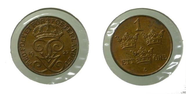 World Coins - Sweden 1 Ore 1927 KM# 777.2