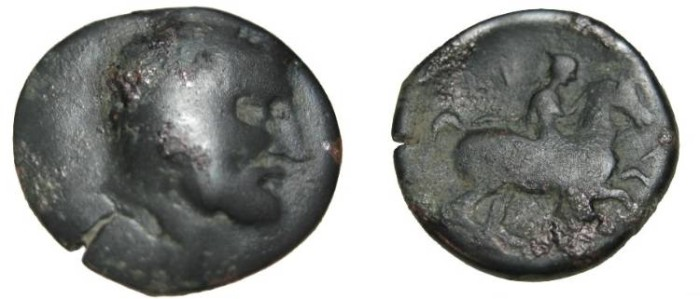 Ancient Coins - Thessaly Krannon AE 18 3rd Cent BC S-2075
