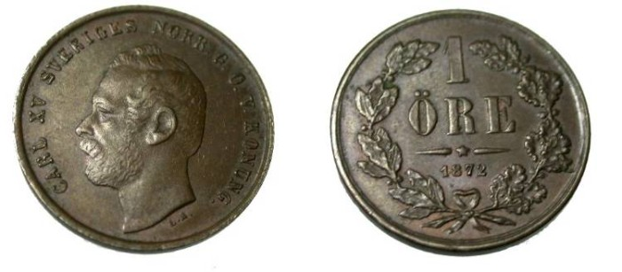 World Coins - 1872 1 Ore KM 705