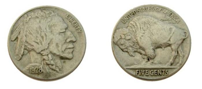 US Coins - 1928 Buffalo Nickel