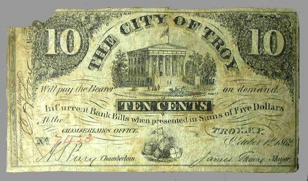 US Coins - New York - The City of Troy Ten Cent Note October 1, 1862
