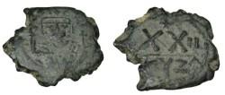 Ancient Coins - Phocas 602-610 AD  AE 1/2 Follis Cyzicus Yr 11 Off A S-670