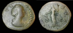 Ancient Coins - Faustina SR AE Sestertius Wife of Antoninus