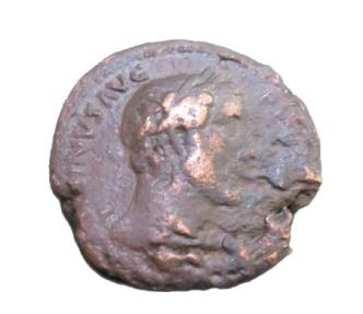Ancient Coins - Antoninus Pius AE As    151-152 AD Salvus Avg Cos III S-C Salus Stdg L Feeding Serpent RIC 900A
