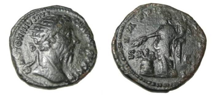 Ancient Coins - Marcus Aurelius 139-180AD AE Dupondius IMP VII COS III RIC 1134