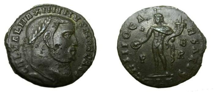 Ancient Coins - Maxminus II 305-313 AD GENIO CAESAR Genius standing L
