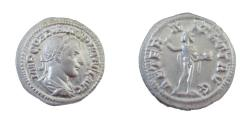 Ancient Coins - Roman Imperial  Gordian III 238-244 AD  AR Denarius 3.01 gm Bust Right Sol Stdg L